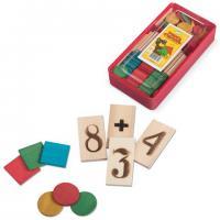 """Касса цифр (счетный материал) """"Учись считать"""", дерево, арт. С255, С516, 128 предметов"""