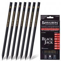"Набор карандашей ""Brauberg"" 12шт. (HB, B, 2B, 3B, 4B - по 2 шт.,  H, 2H - по 1шт.)"
