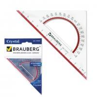 Треугольник Brauberg пластиковый 45°, 130мм, прозрачный, с транспортиром