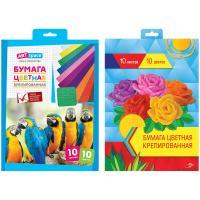 "Цветная крепированная бумага А4 ""ArtSpace"" 10цв., 10л"