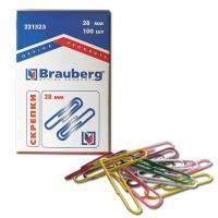 Скрепки (в картоне) цветные 28мм, 100шт. (Brauberg, Berlingo)