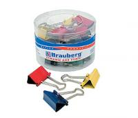 Зажимы для бумаг BRAUBERG, цветные, 32мм, 24шт. в пластиковом цилиндре