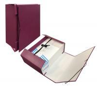 Архивная папка-короб А4+ EC,110мм, покрытие бумвинил, с завязками и резинкой, бордо
