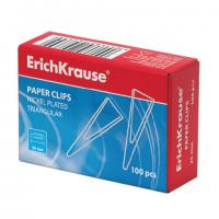 Скрепки (в картоне) треугольные (металлические) 25мм, 100шт. ERICH KRAUSE