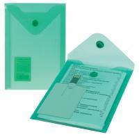 "Папка-конверт А6 с кнопкой Brauberg ""МАЛОГО ФОРМАТА"" (105*148мм), зеленая, 0,18мм"