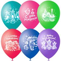 """Шары воздушные 10"""" (25см) """"Зверушки-Игрушки С Днем Рождения"""", пастель+декор"""