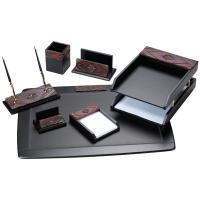 Настольный набор Delucci 7 предметов, черный, красное дерево/декоративный камень