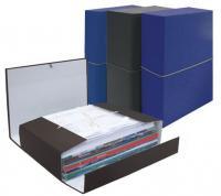 """Архивная папка-короб А4 EC """"Classic"""" 80мм, с завязками и резинкой, складной, синий"""
