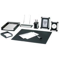Настольный набор Delucci 8 предметов, черное дерево/серебристая отделка, часы, фоторамка