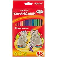 """Карандаши цветные Гамма """"Мультики"""" набор 18 цв., трехгран.,заточенные"""