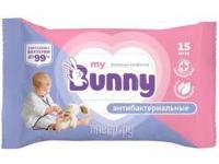 Салфетки влажные детские MY BUNNY 15шт., антибактериальные