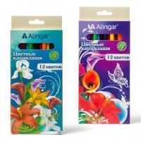 """Карандаши цветные Alingar """"Фантазия"""" набор 12 цв., заточенные, в ассортименте"""