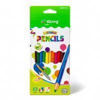 """Карандаши цветные Yalong """"Color"""" набор 12 цв+1 зол/сереб цв., заточенные"""