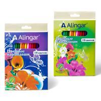 """Карандаши цветные Alingar """"Фантазия"""" набор 18 цв., заточенные, в ассортименте"""