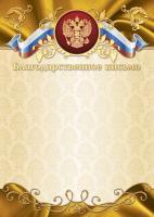 Благодарственное письмо 2209 (бежевый фон, золотисто-коричневая рамка с гербом и триколором)