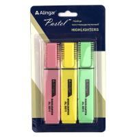 """Набор текстмаркеров Alingar """"Pastel"""" 1-4 мм, 3 цвета, прямоугольный корпус, скошенный"""