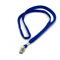 Шнурок для бейджа Alingar, 45см, металл. клипса, синий