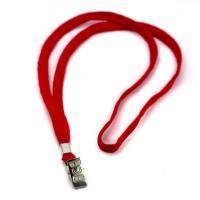 Шнурок для бейджа Alingar, 45см, металл. клипса, красный